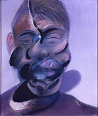 Shows a self-portrait by Francis Bacon, his mouth and nose distorted by blobs of colour against a lilac background.