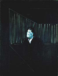 Shows a portrait of a male figure by Francis Bacon. The man is seemingly wearing a suit and appears to be looking up, thoughhis features are obscured. Behind him there are some railings.