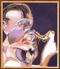 Shows a study for a portrait by Francis Bacon. It is of a male face though the features are distorted. Set against a pale pink background, there is a jagged ripple of colour running from the face to the edge of the canvas.