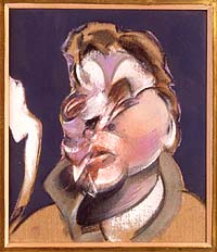 Shows a study for a self-portrait by Francis Bacon. Set against a pale pink background, his features are distorted by blobs of colour and there is a jagged ripple of colour running from his shoulder to the edge of the canvas.