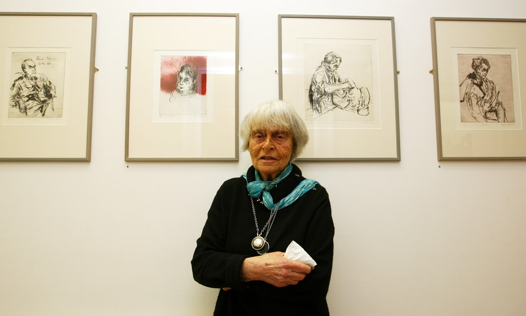 Milein Cosman at the opening of her exhibition in London in 2008. From left  are pictures of Thomas Mann 3aafa385c12